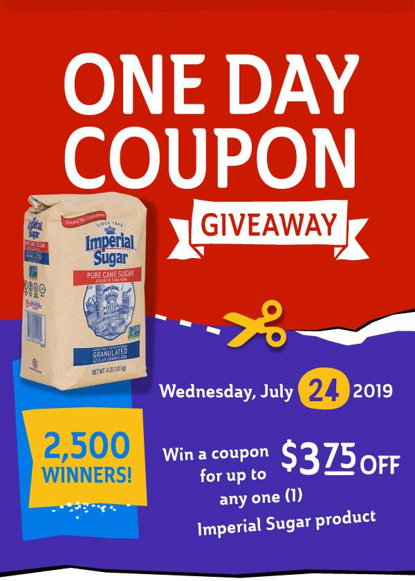 One Day Coupon Giveaway 2019