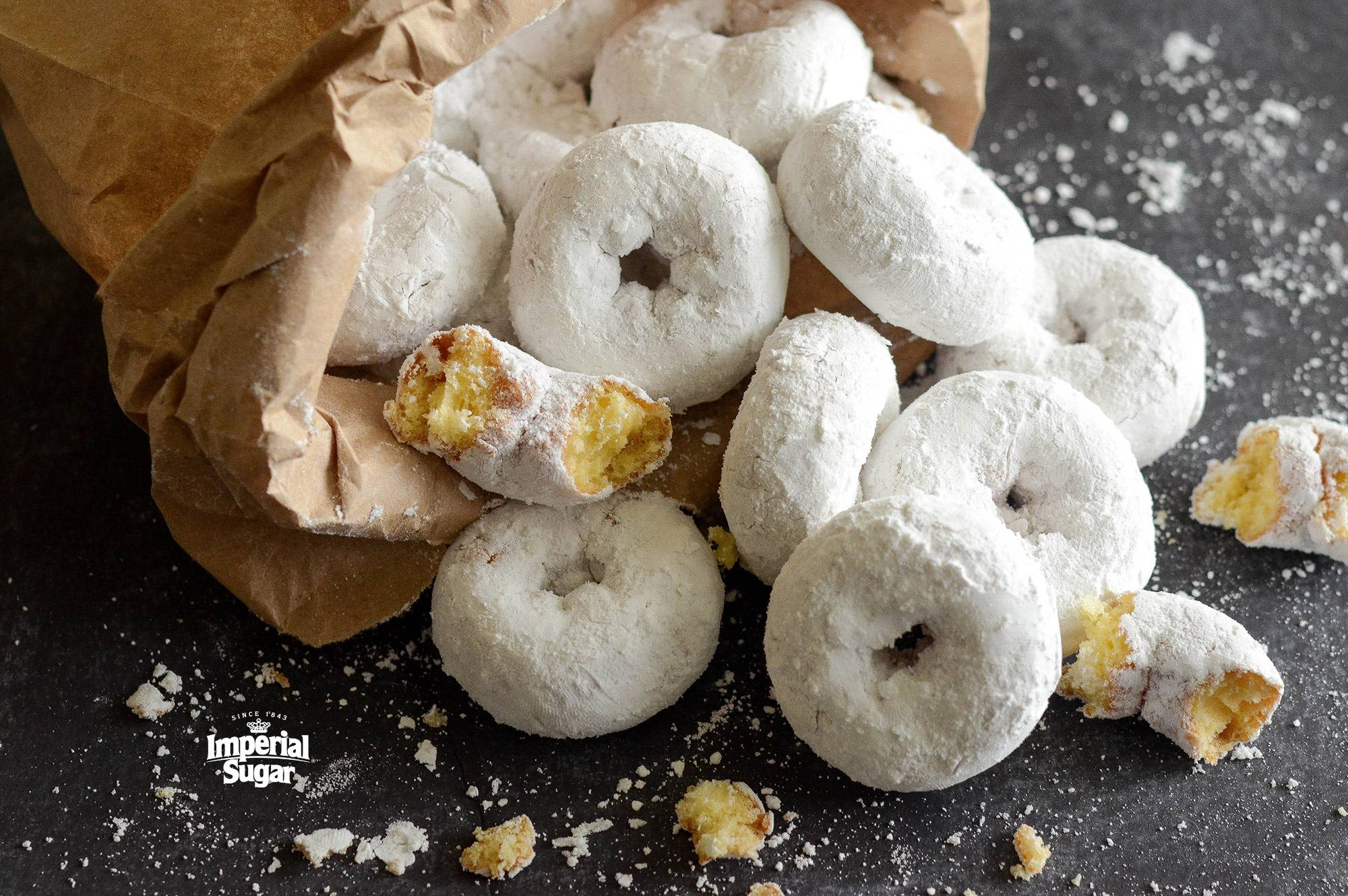 Mini Powdered Sugar Doughnuts Imperial Sugar