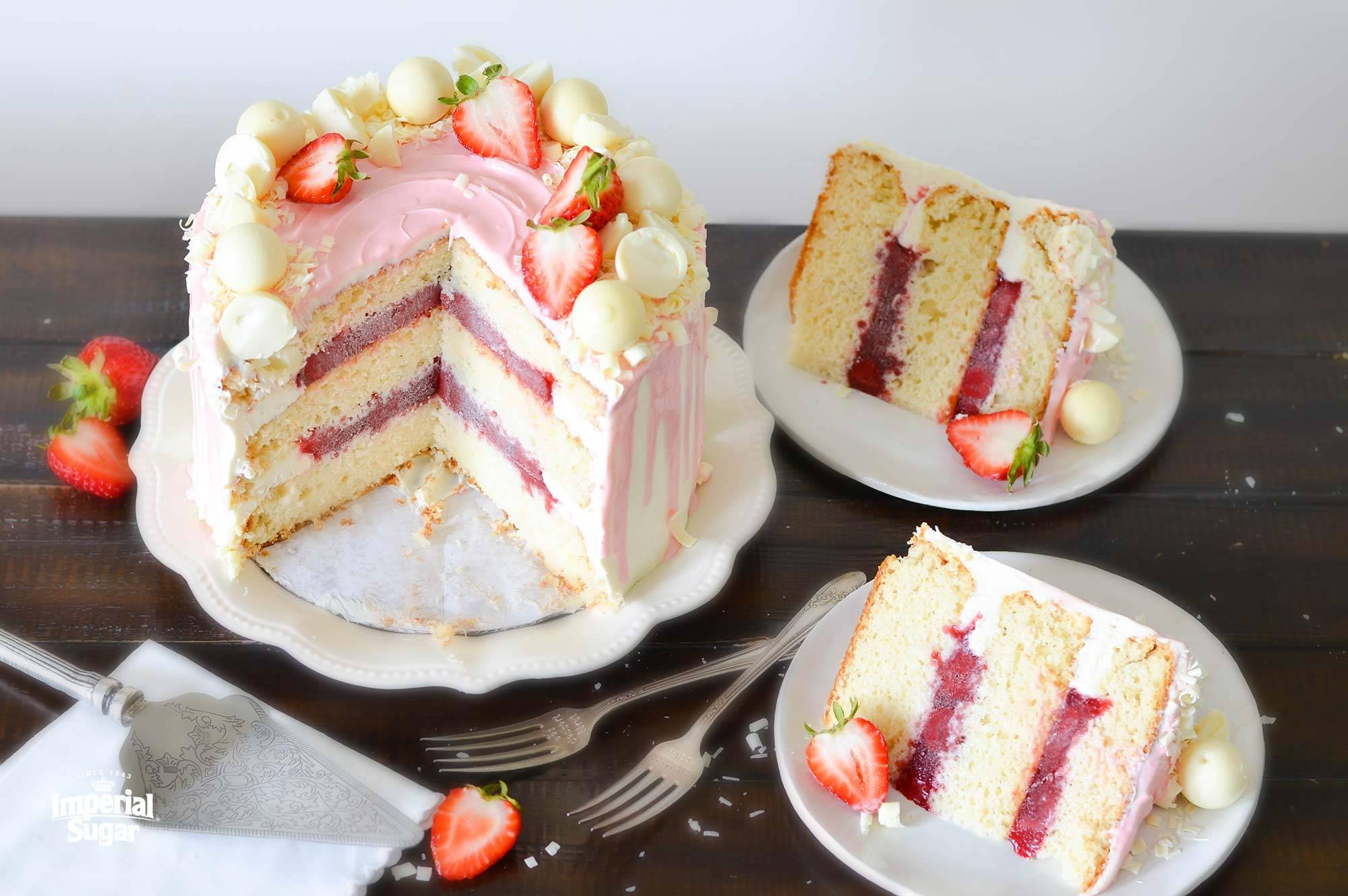 White Chocolate Strawberry Cake Imperial Sugar