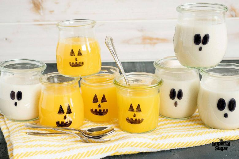 Ghost and Pumpkin Gelatin Cups
