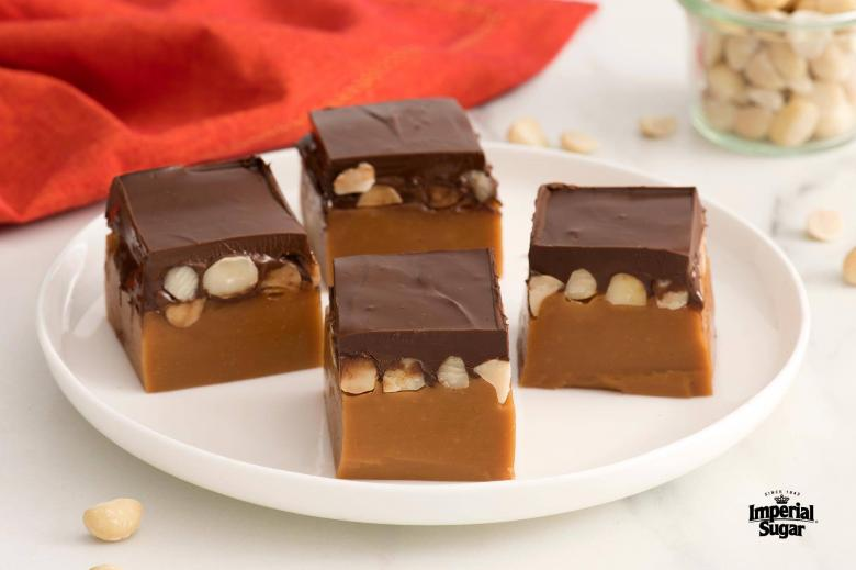 Chocolate Topped Salted Macadamia Nut Caramels