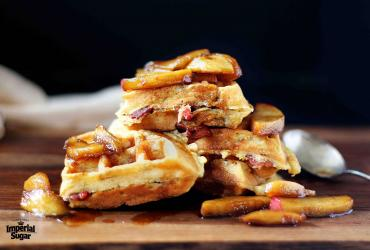 Bacon and Cheddar Waffles with Caramelized Apples