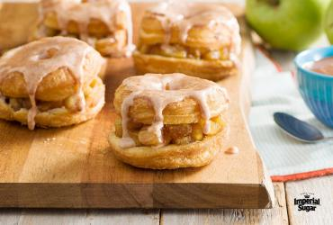 Caramelized Apples and Cinnamon Glaze Crescent Doughnuts