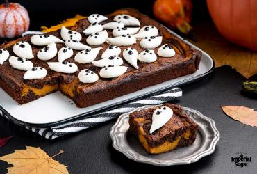 Ghostly Pumpkin Swirled Brownies
