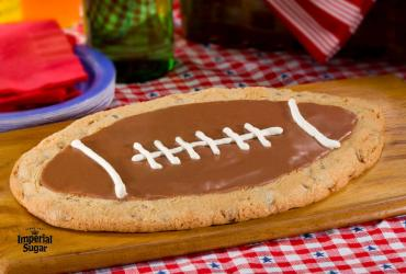 Giant Chocolate Chip-Peanut Football Shaped Cookie
