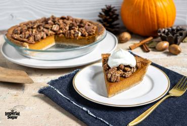 Pumpkin Pie With Pecan Praline Crunch and Gingersnap Crust