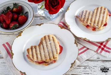 Heart Shaped Turkey and Strawberry Panini