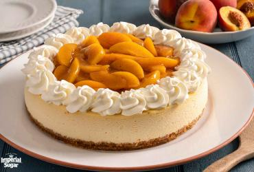Peach Cobbler Topped Cheesecake Imperial