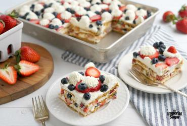 No Bake Red, White, Blue Icebox Cake