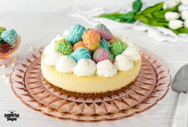 Strawberry Cheesecake with Chocolate Covered Strawberry Easter Eggs
