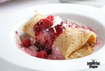 Chocolate Stuffed Crepes with Raspberry Sauce